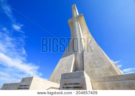 Lisbon, Portugal - August 24, 2017: Discoveries Monument is a popular landmark in Belem District, Lisbon and celebrates the Portuguese who took part in the Age of Discovery. Sunny day blue sky.