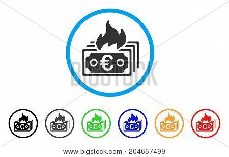 Burn Euro Banknotes rounded icon. Style is a flat burn euro banknotes grey symbol inside light blue circle with black, gray, green, blue, red, orange color versions.