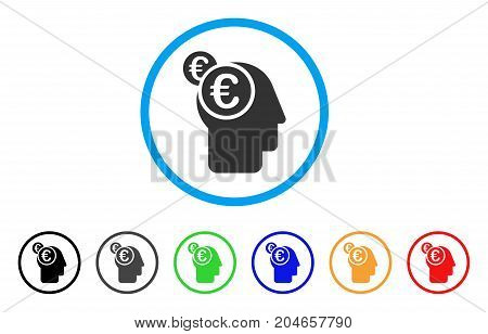 Euro Businessman Intellect rounded icon. Style is a flat euro businessman intellect grey symbol inside light blue circle with black, gray, green, blue, red, orange variants.
