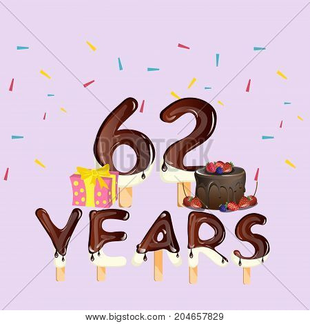 62 years Happy Birthday card. Vector illustration