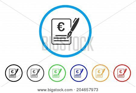 Euro Contract Signature rounded icon. Style is a flat euro contract signature gray symbol inside light blue circle with black, gray, green, blue, red, orange color versions.