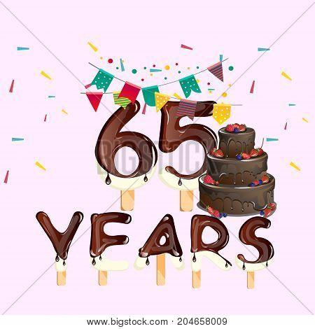 65 years happy birthday card. Vector illustration