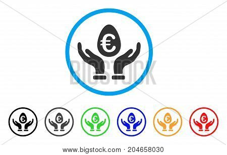 Euro Deposit Care rounded icon. Style is a flat euro deposit care grey symbol inside light blue circle with black, gray, green, blue, red, orange variants.