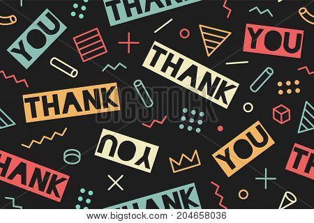 Seamless pattern for Thanksgiving Day. Seamless graphic pattern 90s trendy style on black background with text Thank You. Pattern with different shapes objects for wrapping paper. Vector illustration