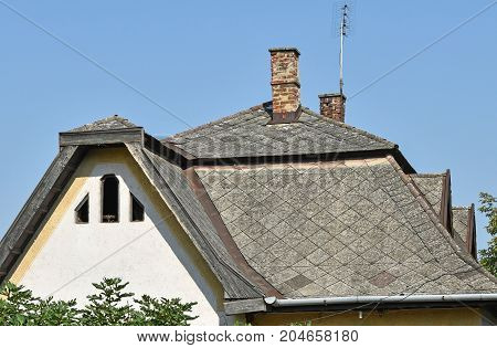 Roof of an old house in the city
