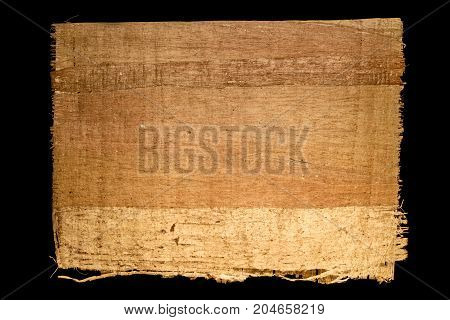 Old sheet of simple papyrus from Egypt on a black background