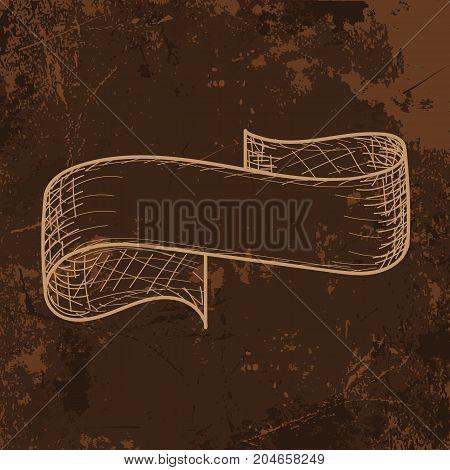 Trendy Hand drawn sketch ribbon, ink style. Vector illustration