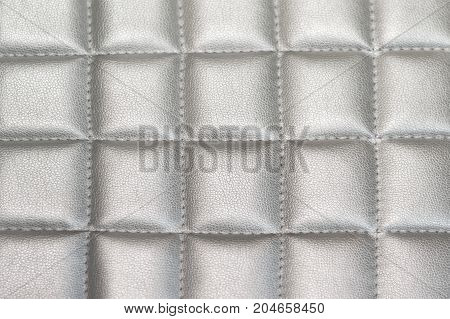 Close up Silver gray Stitched Leather texture background