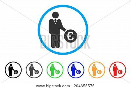 Euro Investor rounded icon. Style is a flat euro investor grey symbol inside light blue circle with black, gray, green, blue, red, orange color versions.