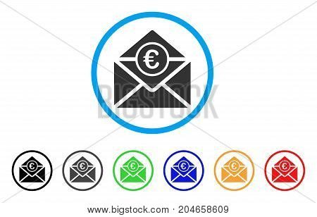 Euro Mail rounded icon. Style is a flat euro mail grey symbol inside light blue circle with black, gray, green, blue, red, orange versions. Vector designed for web and software interfaces.