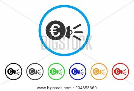 Euro Megaphone Ads rounded icon. Style is a flat euro megaphone ads gray symbol inside light blue circle with black, gray, green, blue, red, orange versions.