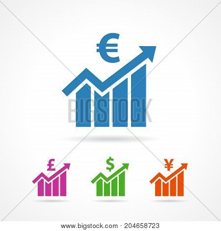Financial growth icons euro, pound, yen, dollar sign flat. Financial business colored progress arrow up and sign euro, pound, yen, dollar icon vector template