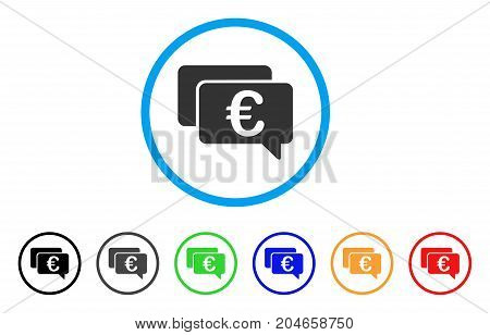 Euro Messages rounded icon. Style is a flat euro messages gray symbol inside light blue circle with black, gray, green, blue, red, orange versions. Vector designed for web and software interfaces.