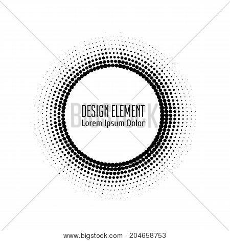 Vector abstract halftone circle white frame.  Abstract dotted gradient logo design elements. Grunge halftone textured pattern with dots. Pop art dotted circle template isolated on white