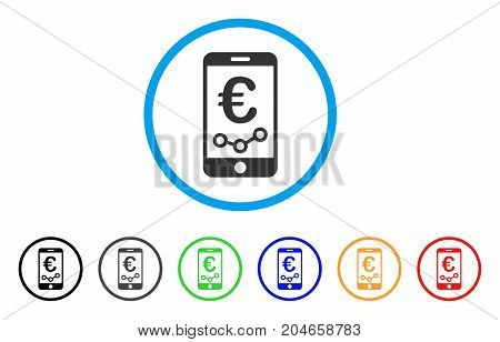 Euro Mobile Report rounded icon. Style is a flat euro mobile report grey symbol inside light blue circle with black, gray, green, blue, red, orange variants.