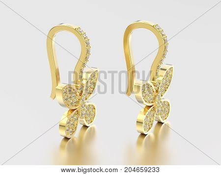 3D illustration two yellow gold decorative diamond butterfly earrings with reflection and shadow on a grey background