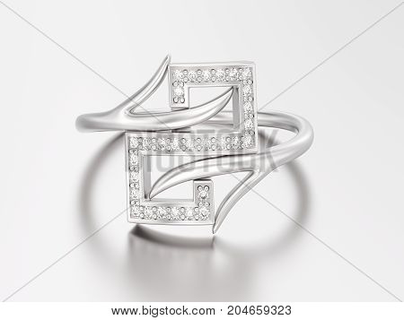 3D illustration white gold or silver engagement decorative diamond ring with reflection and shadow on a grey background