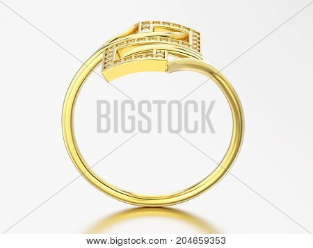 3D illustration yellow gold engagement decorative diamond ring with reflection and shadow on a grey background