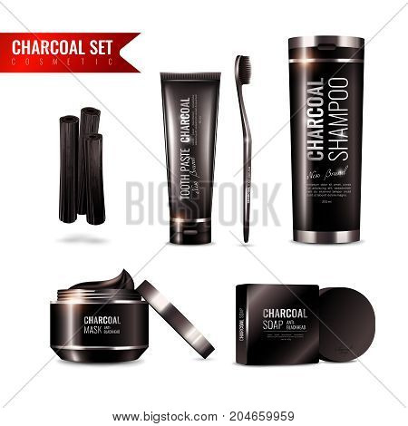 Charcoal cosmetics set with tooth brush and paste, shampoo, mask, soap on white background isolated vector illustration