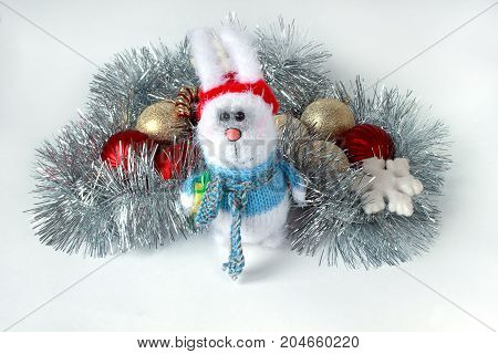 Decorations for the new year and christmas on a white background. Traditional holidays.