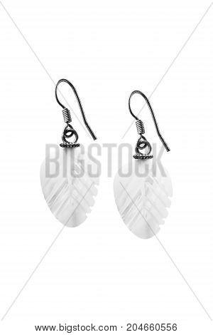 Elegant vintage pearl earrings isolated over white