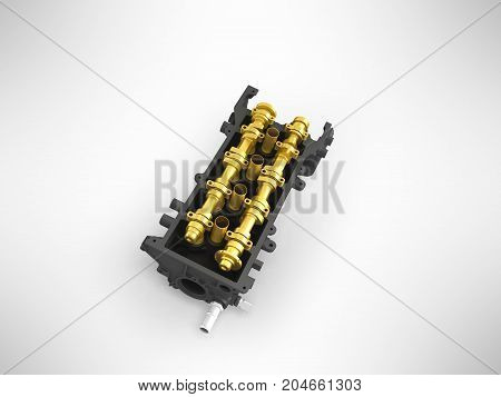 Concept Of The Cylinder Head Head Black Gold 3D Render On A Gray Background