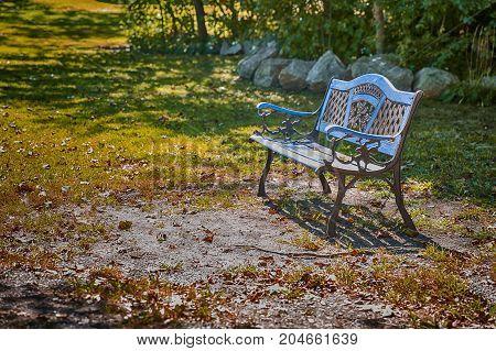 bench in the autumn park. empty garden bench