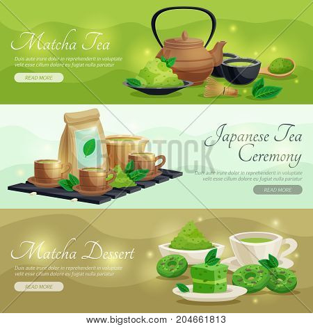Japanese tea ceremony 3 horizontal banners webpage design  green matcha powder dessert and teapot isolated vector illustration