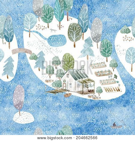 Seamless pattern of a fisherman's house,island and garden.Landscape of a forest, lake, bridge and lake.Watercolor hand drawn illustration.Blue background.