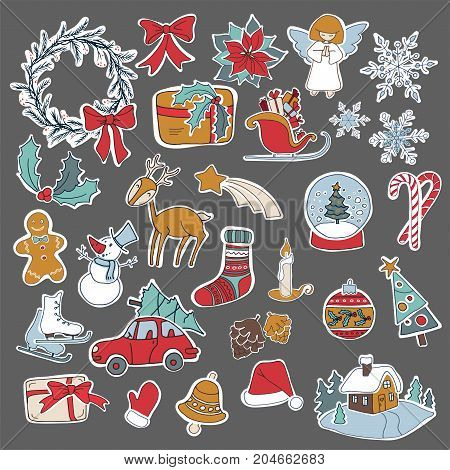 Christmas sticker icon set with gift box xmas tree deer snowman gingerbread cookie candle bell poinsettia flower sleigh wreath and other. 25 elements can be used for advent calendar