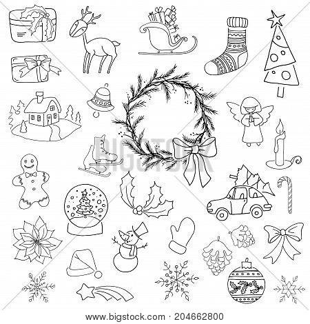 Christmas black and white elements set with gift box xmas tree deer snowman gingerbread cookie candle bell poinsettia flower sleigh wreath and other 25 elements can be used for advent calendar