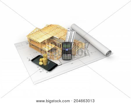 The Concept Of Construction Calculations. The Frame Of The House. Money 3D Render On White Backgroun