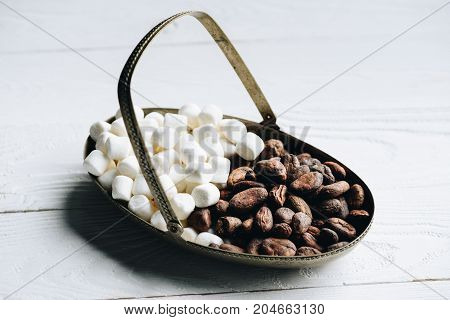 Cacao Beans And Marshmallow