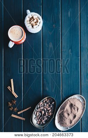 Cups Of Cacao And Spices