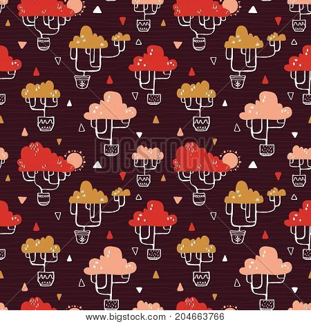 Seamless vector doodle hand drawn pattern with ornate trees for wallpapers, scrapbooking, web page backgrounds,textile