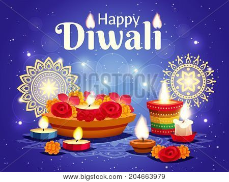 Realistic sparkling blue background with different objects for celebrating indian diwali holiday vector illustration