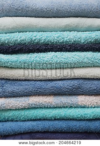 Stack Of Bath Towels In Shades Of Blue