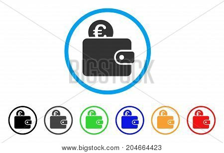 Euro Wallet rounded icon. Style is a flat euro wallet gray symbol inside light blue circle with black, gray, green, blue, red, orange versions. Vector designed for web and software interfaces.