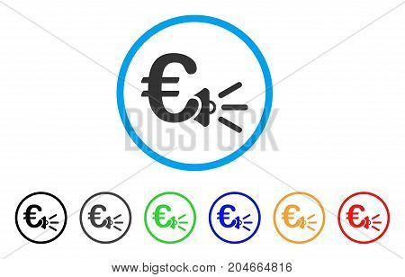 Euro Ads Megaphone rounded icon. Style is a flat euro ads megaphone gray symbol inside light blue circle with black, gray, green, blue, red, orange color versions.