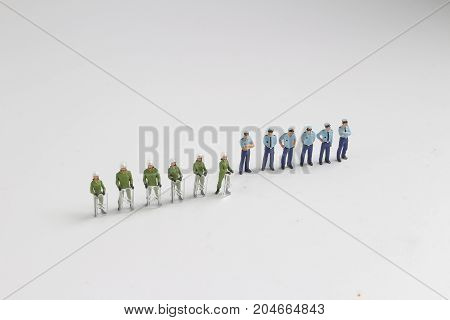 Group Of Figure Of Police At Standing
