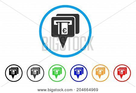 Euro ATM Pointers rounded icon. Style is a flat euro ATM pointers grey symbol inside light blue circle with black, gray, green, blue, red, orange variants.