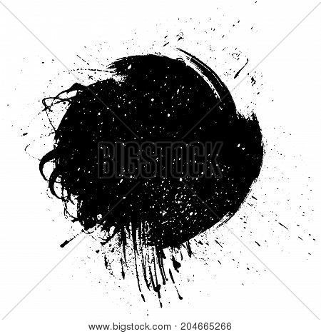 Grunge Paint stripe. Vector brush Stroke . Distressed banner . Black isolated paintbrush label
