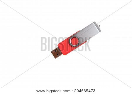 Red USB Flash Memory Drive isolated on white background with copyspace and clipping path