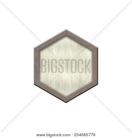 Metal badge with metallic border in form of circle.Isolated on white background.