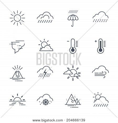 Set Of Weather Icons On White Background Climate Forecast Collection Vector Illustration