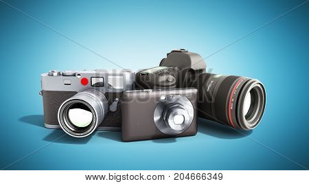 Photo Cameras Of Different Classes 3D Render On Blue