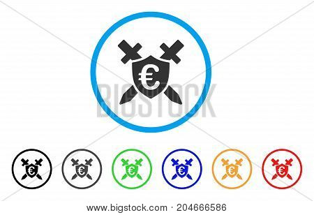 Euro Guard Shield rounded icon. Style is a flat euro guard shield gray symbol inside light blue circle with black, gray, green, blue, red, orange variants.