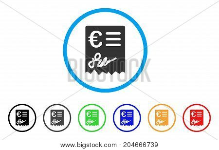 Euro Invoice rounded icon. Style is a flat euro invoice grey symbol inside light blue circle with black, gray, green, blue, red, orange versions. Vector designed for web and software interfaces.