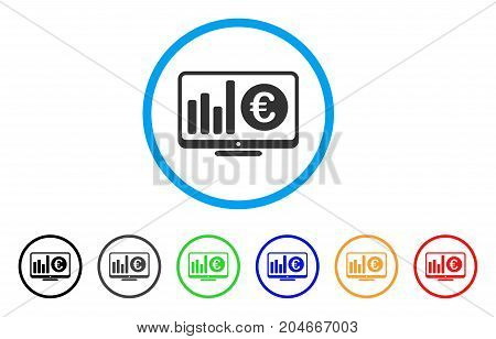 Euro Market Monitoring rounded icon. Style is a flat euro market monitoring grey symbol inside light blue circle with black, gray, green, blue, red, orange versions.