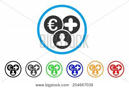 Euro Medical Expences rounded icon. Style is a flat euro medical expences gray symbol inside light blue circle with black, gray, green, blue, red, orange color versions.